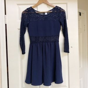 H & M Divided Navy Lace Back Long Sleeve Dress